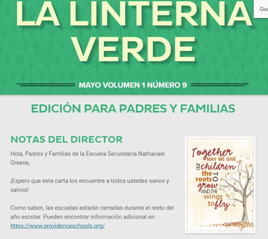 Family Newsletter Eng. and Spanish