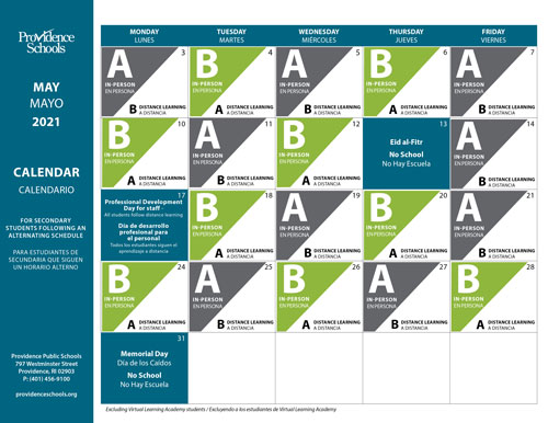 May Calendar for Secondary Schools