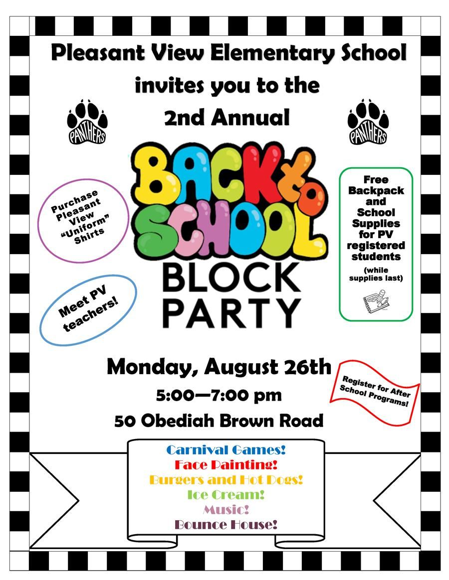 Pleasant View Back to School Block Party